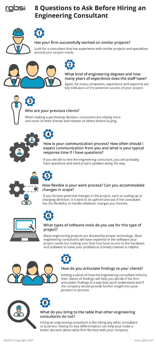 8 Questions to ask engineering consultant infographic