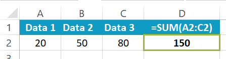 Excel SUM function example