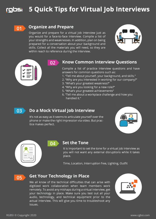 Infographic 5 Tips for Virtual Job Interviews